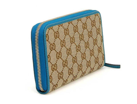 Gucci GG original Beige Logo Canvas Leather Mineral Blue Wallet 420113 at_Queen_Bee_of_Beverly_Hills