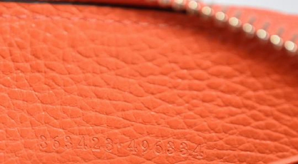 Gucci GG Original Beige Logo Leather Zip Around Sun Orange Wallet 363423 at_Queen_Bee_of_Beverly_Hills