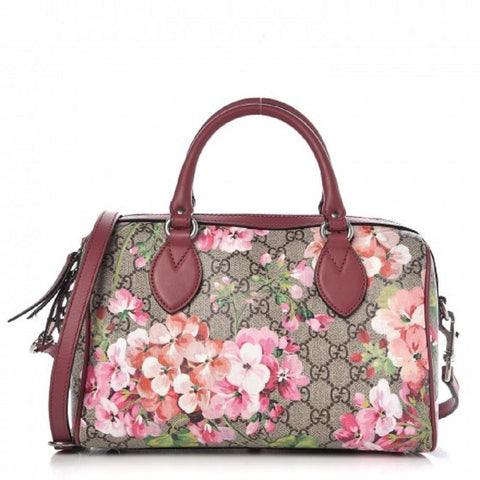 Gucci GG Supreme Monogram Blooms Top Handle Small Dry Rose 409529 at_Queen_Bee_of_Beverly_Hills