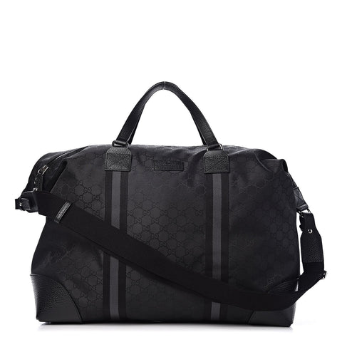 Gucci GG Web Nylon Monogram XL Duffle Bag Black 449180 at_Queen_Bee_of_Beverly_Hills
