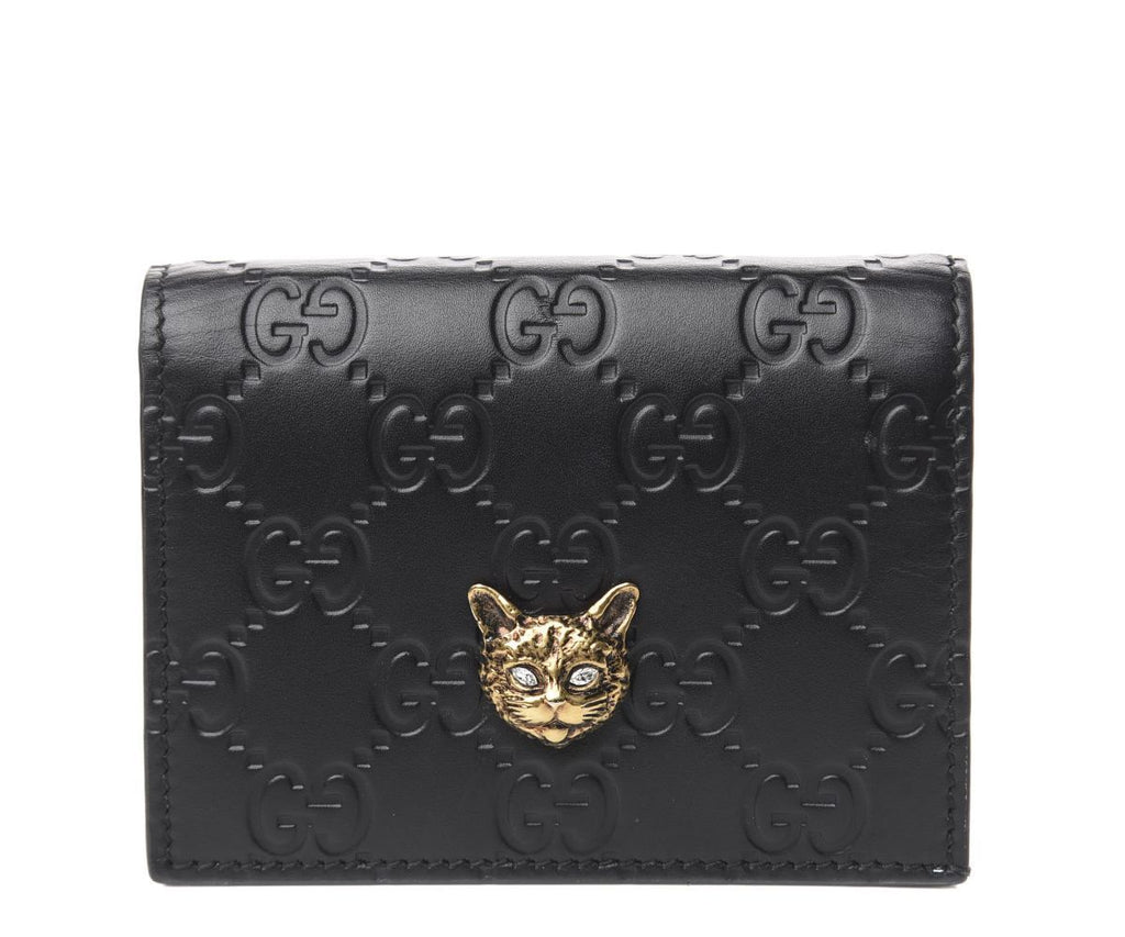 Gucci Guccissima Black Leather Crystal Feline Head Flap Wallet 548057 at_Queen_Bee_of_Beverly_Hills