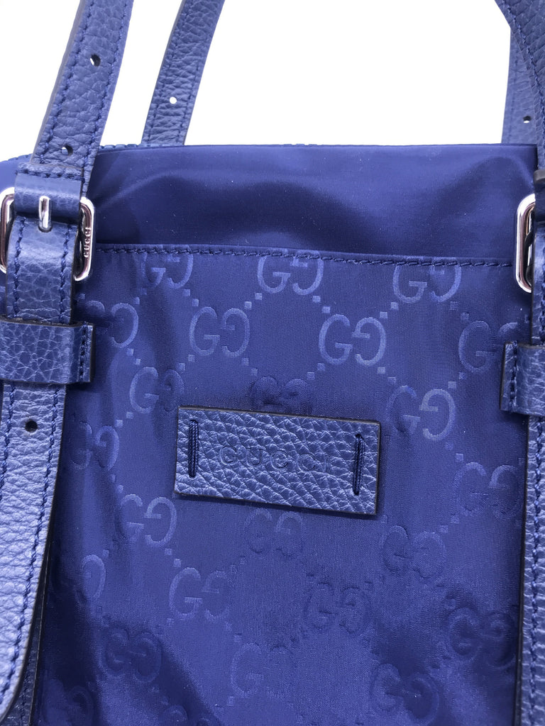 Gucci Guccissima Navy Blue Detachable Strap GG Nylon Handbag 510333 at_Queen_Bee_of_Beverly_Hills
