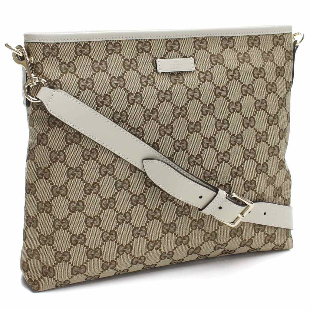 Gucci Handbag Original GG Canvas Beige Ebony White Leather Trim Messenger 388924 at_Queen_Bee_of_Beverly_Hills