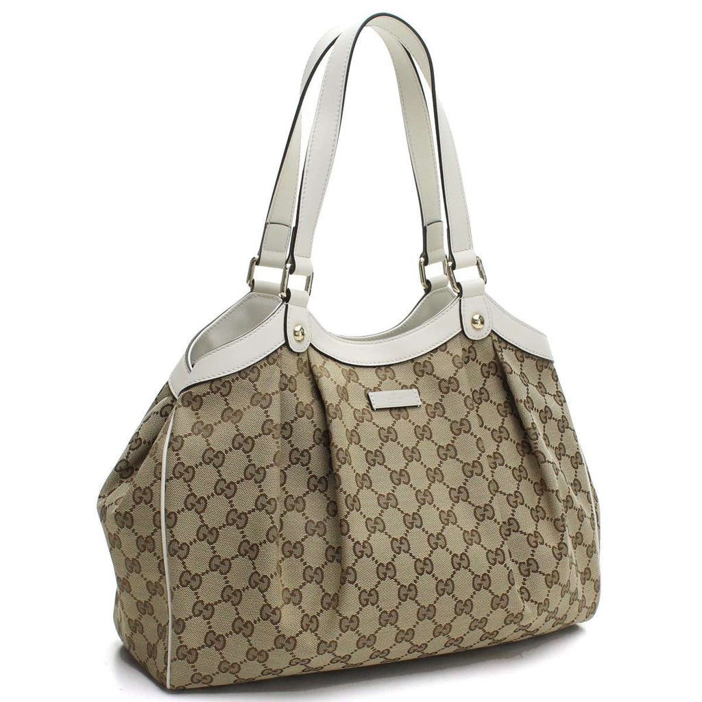 Gucci Handbag Original GG Canvas Beige Ebony White Leather Trim Tote 388919 at_Queen_Bee_of_Beverly_Hills