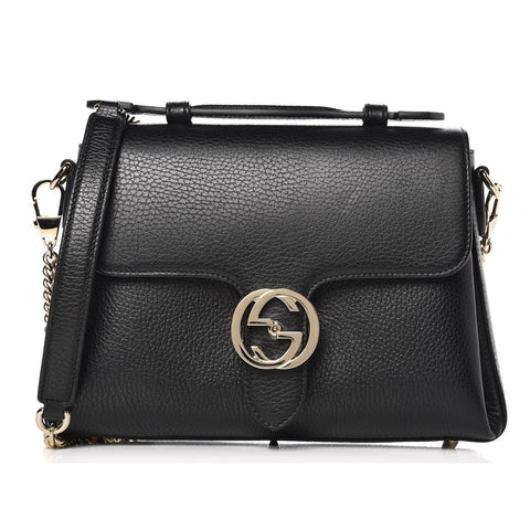 Gucci Interlocking G Black Leather Chain Shoulder Bag 510302 at_Queen_Bee_of_Beverly_Hills