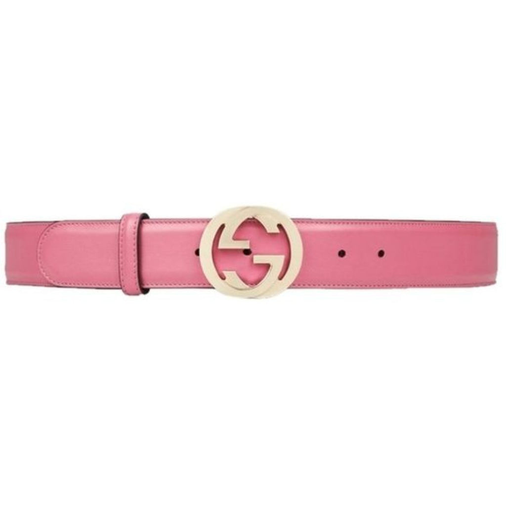 Gucci Interlocking G Buckle Belt Pink Magenta Leather Fine Gold-Toned Hardware 546386 90/36 at_Queen_Bee_of_Beverly_Hills