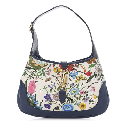 Gucci Jackie Flora Canvas White Blue Agata Hobo Bag 550152 at_Queen_Bee_of_Beverly_Hills