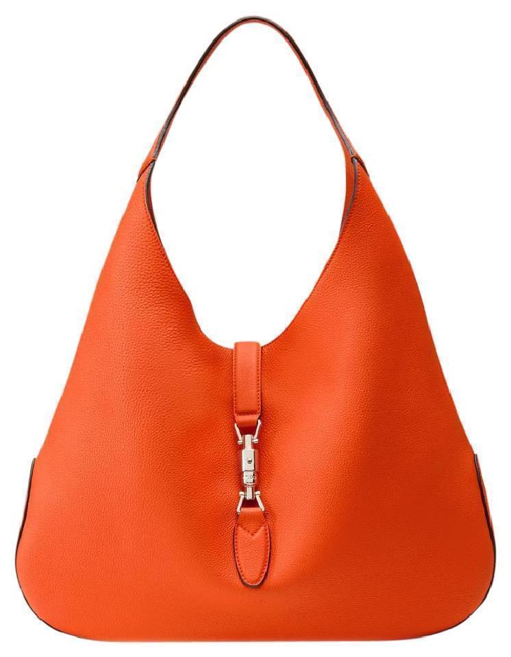 Gucci Jackie Grand Prix Soft Pebbled Vibrant Orange Leather Hobo Bag 362968 at_Queen_Bee_of_Beverly_Hills