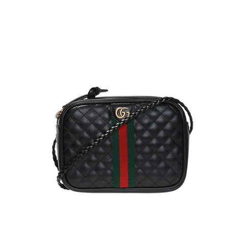 Gucci Laminated Trapuntata Black Calfskin Bag Web GG Small 536441 at_Queen_Bee_of_Beverly_Hills