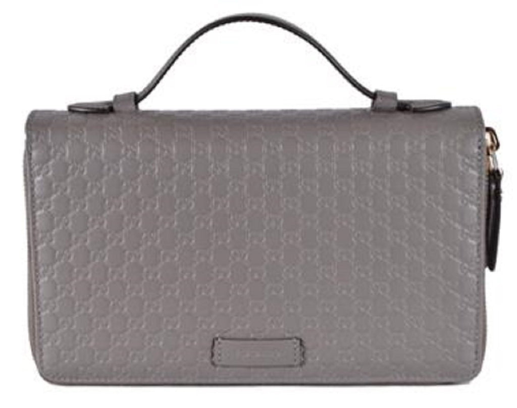 Gucci Large Gray Microguccissima GG Logo Double Zipper Travel Case 544250 at_Queen_Bee_of_Beverly_Hills