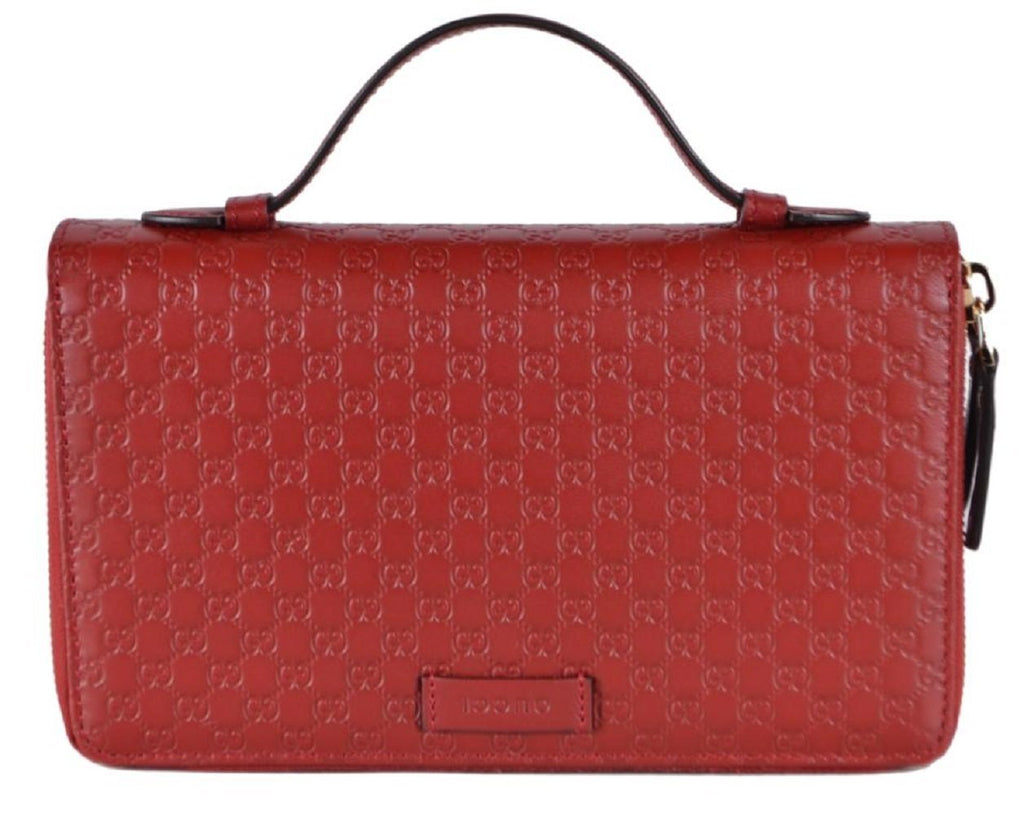 Gucci Large Womens Red Microguccissima GG Logo Double Zipper Travel Case 544250 at_Queen_Bee_of_Beverly_Hills