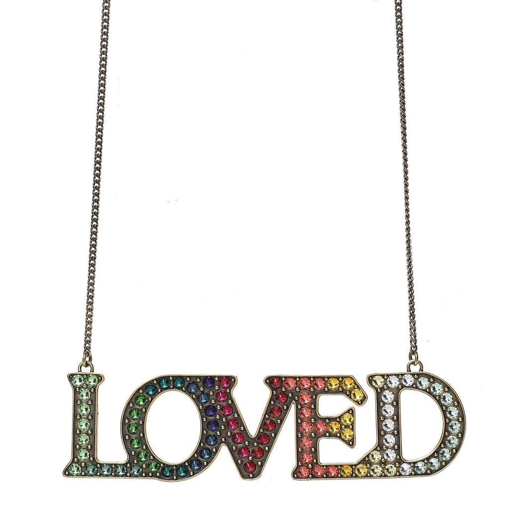 Gucci Loved Aged Metal Necklace with Mulitcolor Crystals ‎472207 at_Queen_Bee_of_Beverly_Hills