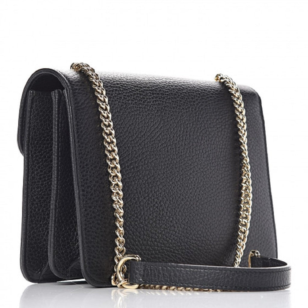 Gucci Marmont Black Icon GG Interlocking Small Cross Body Bag 510304 at_Queen_Bee_of_Beverly_Hills