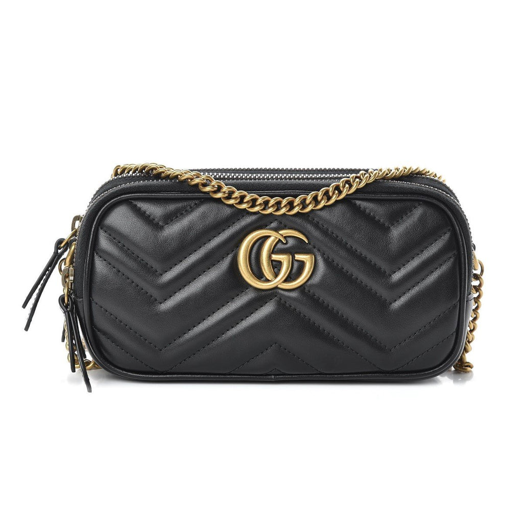 Gucci Marmont Calfskin Matelasse Mini Black Crossbody Chain Bag 546581 at_Queen_Bee_of_Beverly_Hills