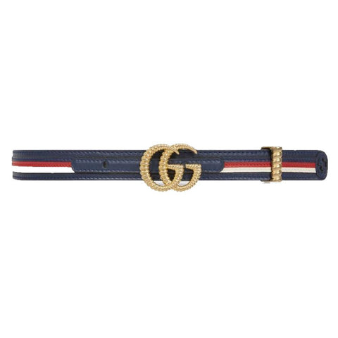Gucci Marmont GG Logo Blue Red Web Stripe Leather Belt Size 95 38 550115 at_Queen_Bee_of_Beverly_Hills