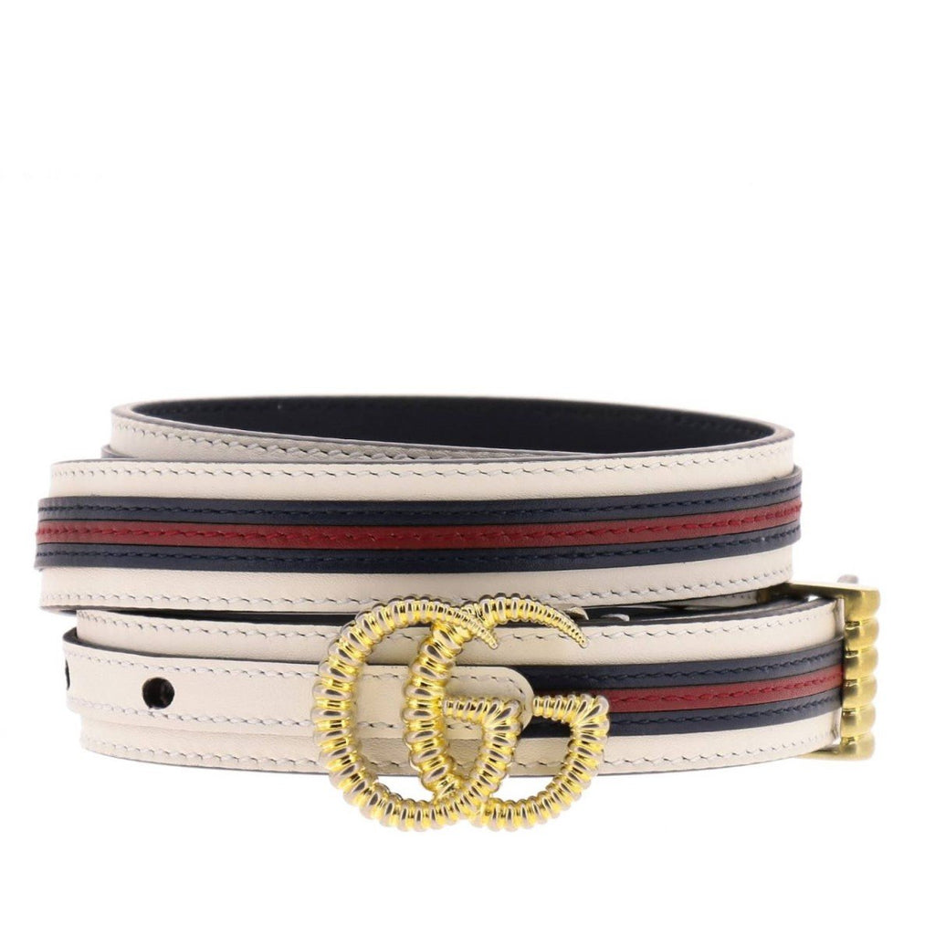 Gucci Marmont GG Logo Thin Blue Red Web Stripe Leather Belt Size 100 40 550115 at_Queen_Bee_of_Beverly_Hills