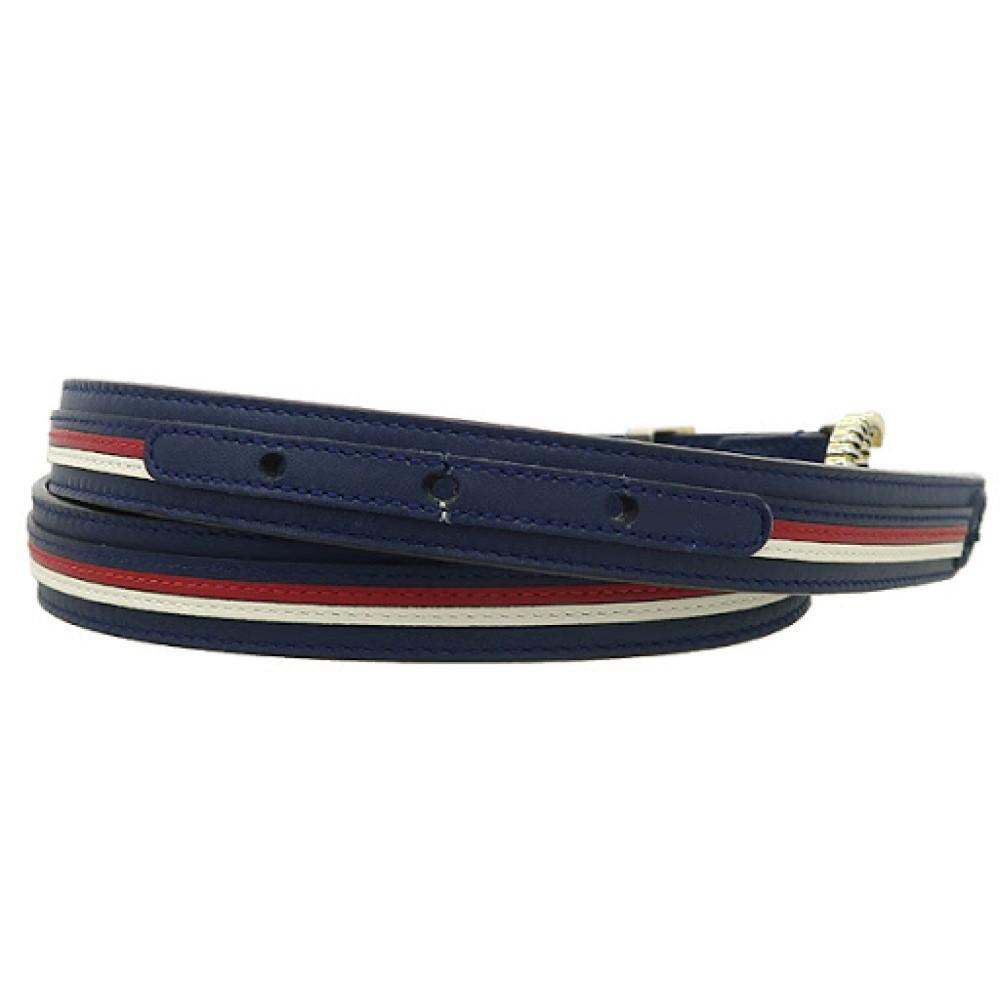 Gucci Marmont GG Logo Thin Blue Red Web Stripe Leather Belt Size 90 36 550115 at_Queen_Bee_of_Beverly_Hills