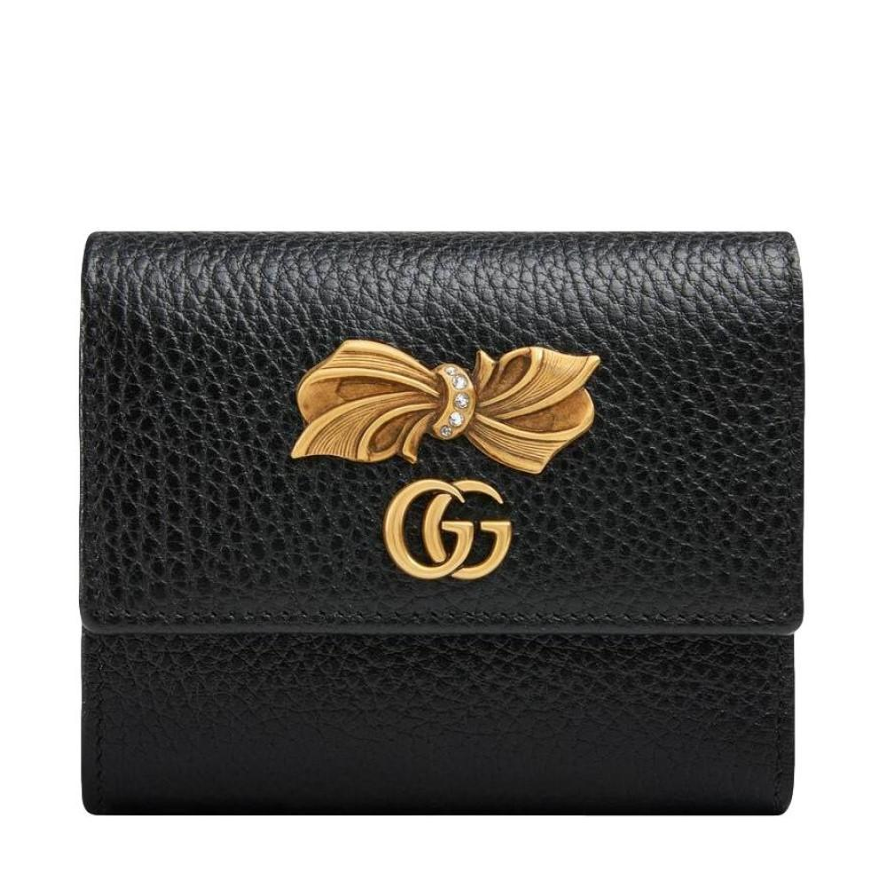Gucci Marmont GG Pebbled Black Leather with Crystal Bow 524294 at_Queen_Bee_of_Beverly_Hills