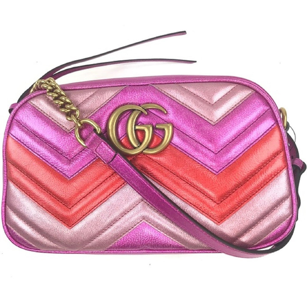 Gucci Marmont Matelasse Chevron Metallic Cross Body Bag 447632 at_Queen_Bee_of_Beverly_Hills