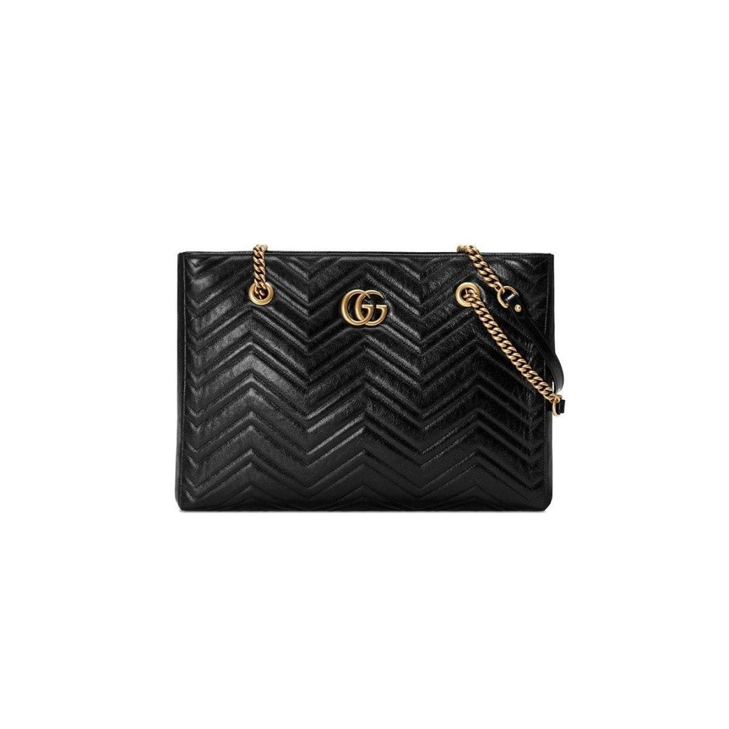 Gucci Marmont Metalasse Black GG Medium Leather Tote Bag 524578 at_Queen_Bee_of_Beverly_Hills