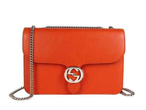 Gucci Marmont Orange Icon GG Interlocking Medium Cross Body Handbag 510303 at_Queen_Bee_of_Beverly_Hills