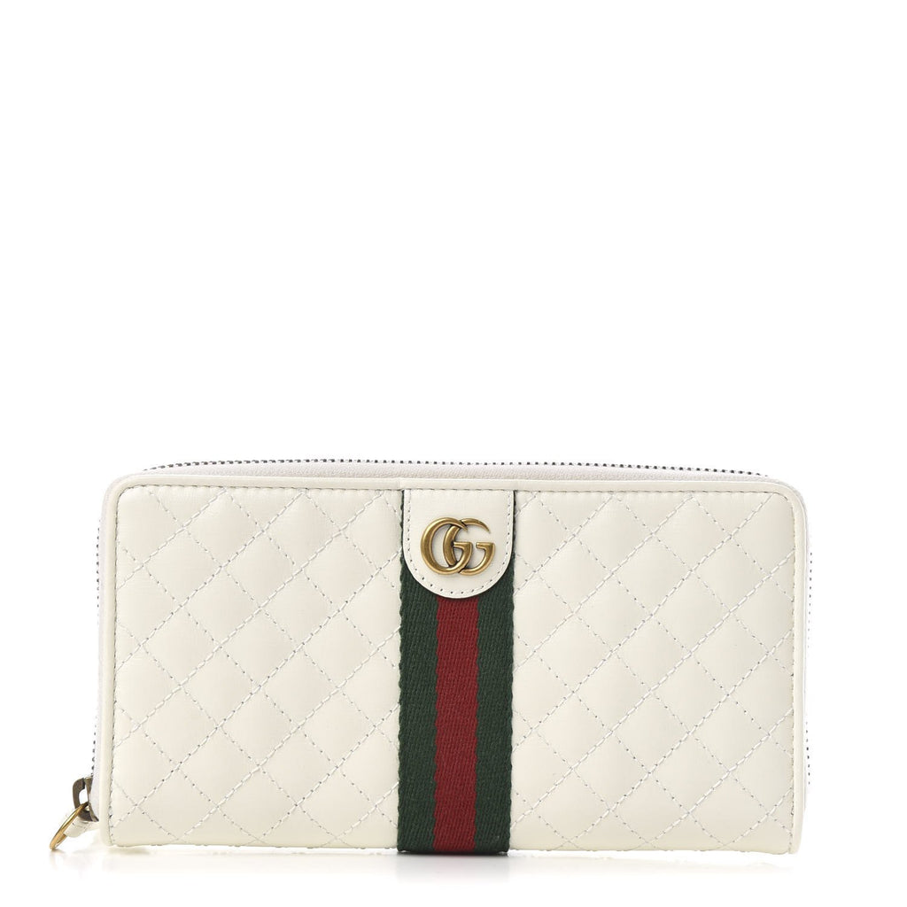 Gucci Marmont Web Stripe Quilted White Leather Wallet 536450 at_Queen_Bee_of_Beverly_Hills