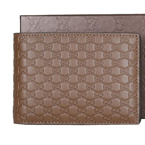Gucci Men's Acero Brown GG Microguccissima Leather Trifold Wallet 217044 at_Queen_Bee_of_Beverly_Hills