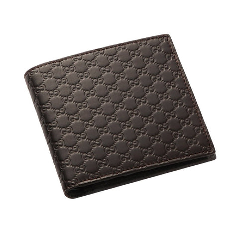 Gucci Men's Black Microguccissima GG Logo Dark Brown Leather Bifold Wallet 150413 at_Queen_Bee_of_Beverly_Hills