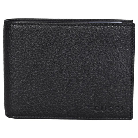 Gucci Men's Black Pebbled Leather Trifold Wallet Gucci Embossed 333042 at_Queen_Bee_of_Beverly_Hills