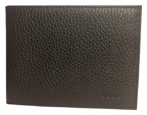 Gucci Men's Chocolate Leather Embossed Logo Tri-fold Billfold  Wallet 217044 at_Queen_Bee_of_Beverly_Hills