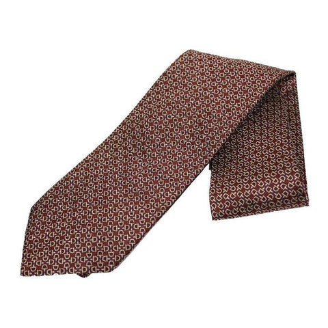 Gucci Men's Clasic Horsebit Pattern Burgundy Necktie Woven Silk Luxury Tie 324856 at_Queen_Bee_of_Beverly_Hills