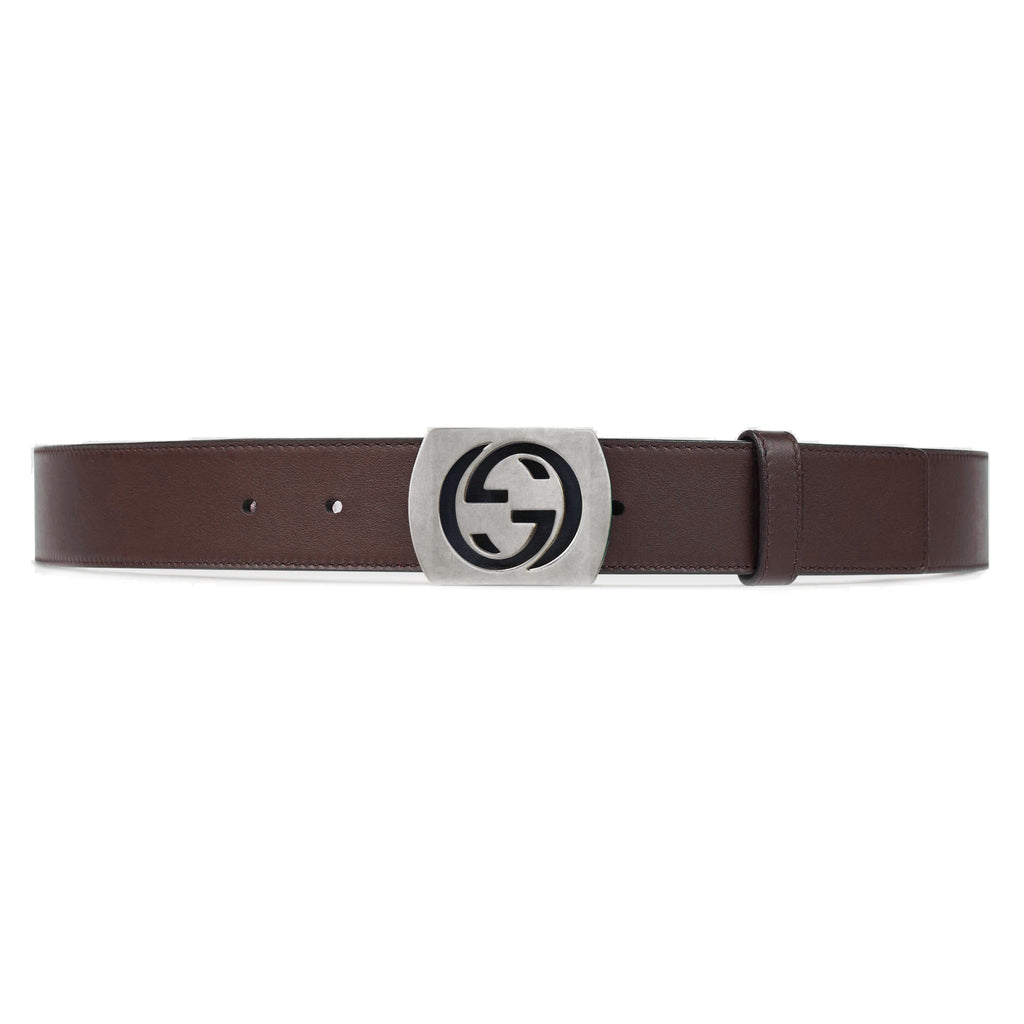Gucci Men's Classic GG Logo Brown Belt Silver Hardware Size: 42 387031 at_Queen_Bee_of_Beverly_Hills