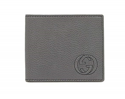 Gucci Men's Classic Gray Pebbled Leather Monogram Bifold  Billfold Wallet 322114 at_Queen_Bee_of_Beverly_Hills
