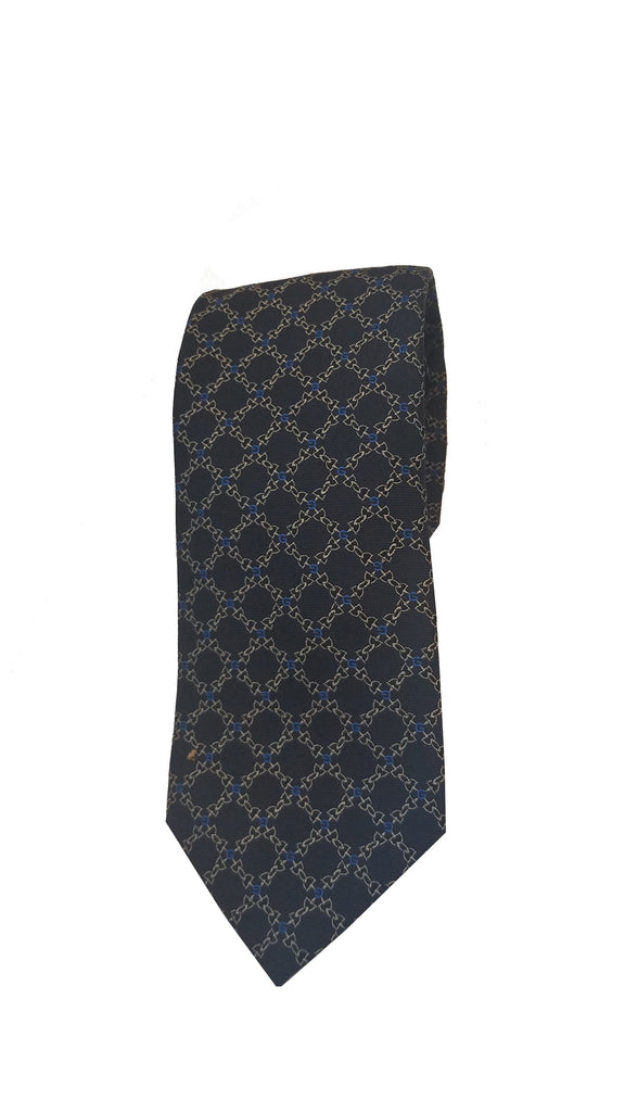 Gucci Men's Classic Navy Blue and Gold Horsebit Pattern Woven Silk Necktie 349401 at_Queen_Bee_of_Beverly_Hills