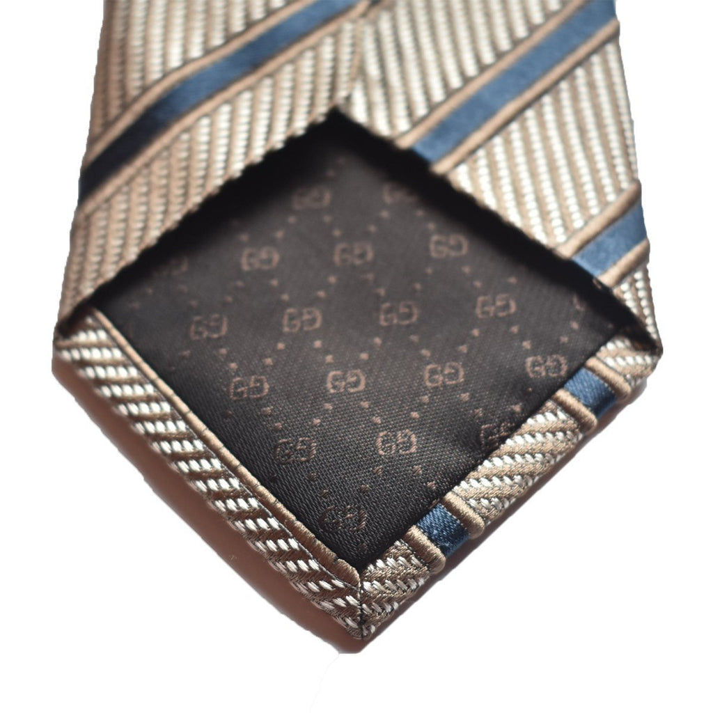 Gucci Men's Classic Tie White Camel Blue Striped 408862 at_Queen_Bee_of_Beverly_Hills