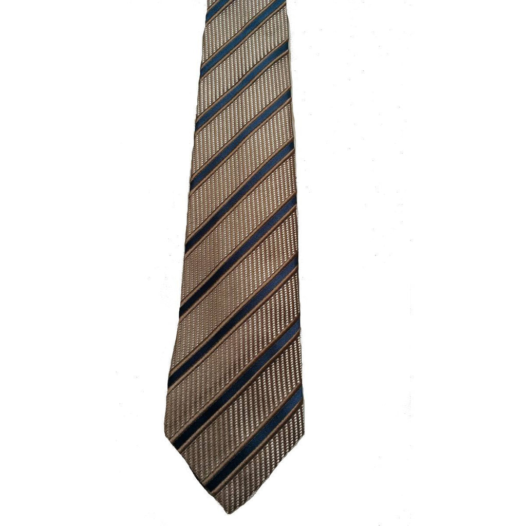 Gucci Men's Classic Tie White Camel Blue Striped Luxury Necktie 408862 at_Queen_Bee_of_Beverly_Hills