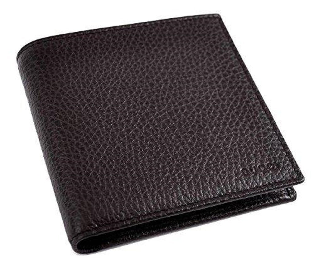 Gucci Men's Dark Brown Pebbled Leather Trifold Wallet Gucci Embossed 333042 at_Queen_Bee_of_Beverly_Hills