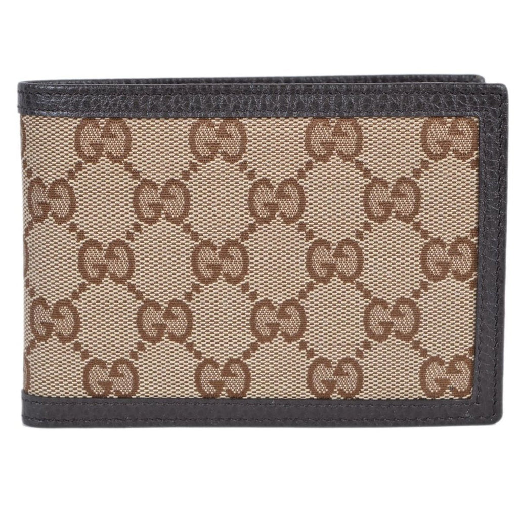 Gucci Men's Dollar Calf Original Canvas Beige GG Leather Trim Bifold Pouch Wallet 292534 at_Queen_Bee_of_Beverly_Hills