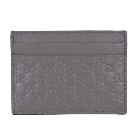Gucci Men's GG Guccissima Leather Card Holder Wallet Gray 476010 at_Queen_Bee_of_Beverly_Hills