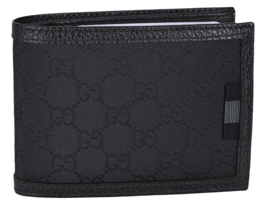 Gucci Men's GG Logo Canvas Web Black Bi-fold Wallet 278596 at_Queen_Bee_of_Beverly_Hills