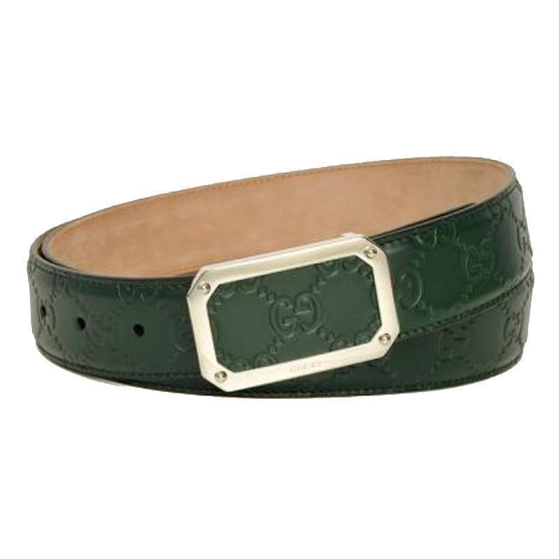 Gucci Men's Guccissima Dark Green Belt 403941 Size: 38 at_Queen_Bee_of_Beverly_Hills