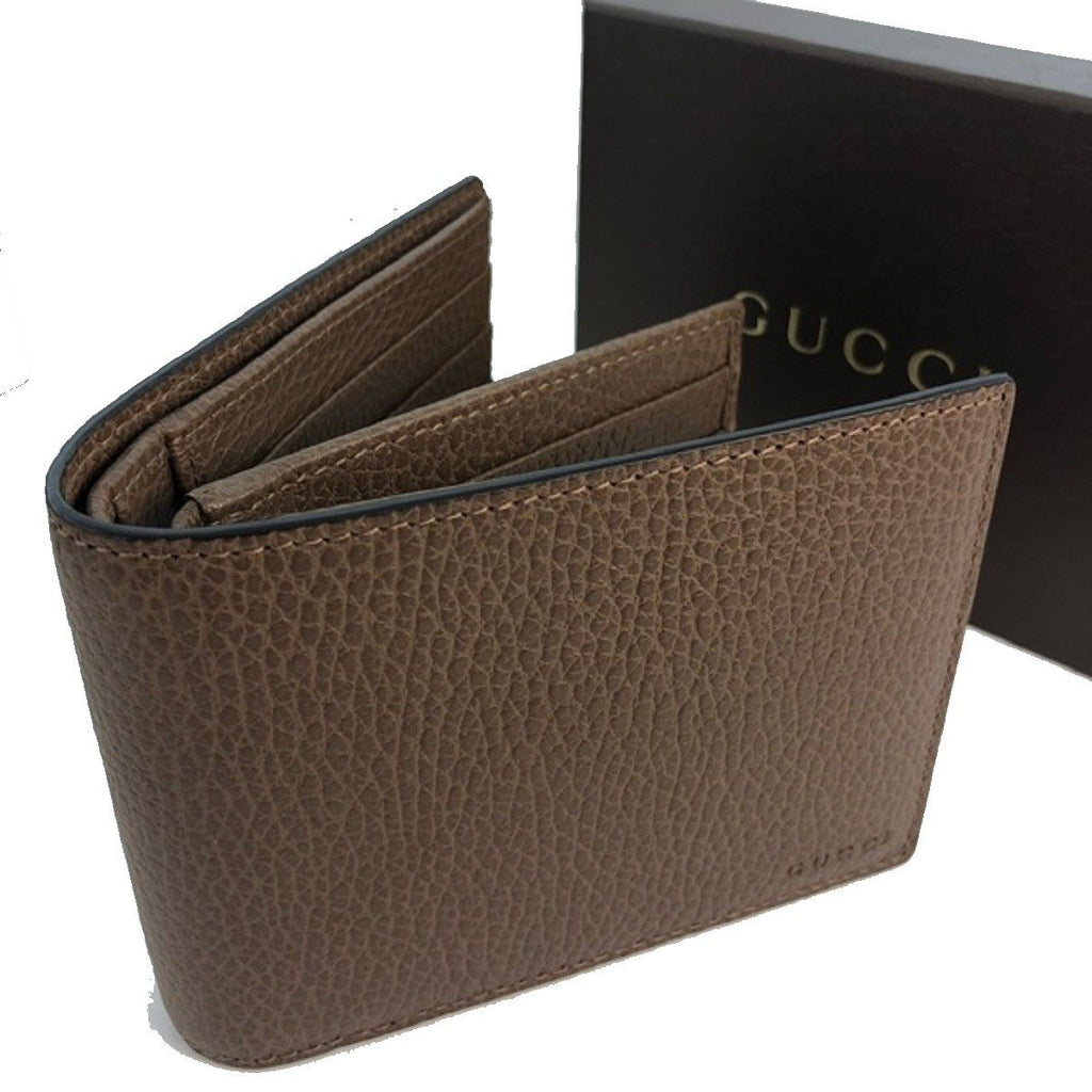 Gucci Men's Light Brown Pebbled Leather Trifold Wallet Gucci Embossed at_Queen_Bee_of_Beverly_Hills