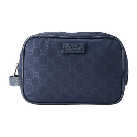 Gucci Men's Medium Nylon Guccissima Zip Around Leather Toiletry Tide Blue Bag 510338 at_Queen_Bee_of_Beverly_Hills