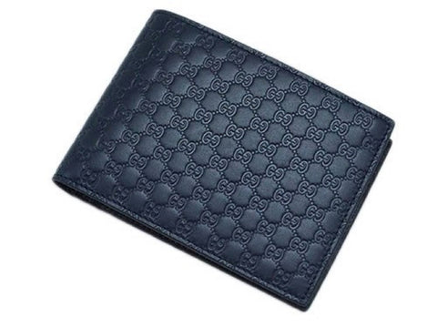 Gucci Men's Navy Blue Microguccissima Leather Bifold with Coin Pocket 367287 at_Queen_Bee_of_Beverly_Hills