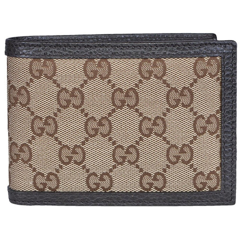 Gucci Men's Original GG Logo Canvas Web Brown Beige Leather Trim Bi-fold Wallet 278596 at_Queen_Bee_of_Beverly_Hills