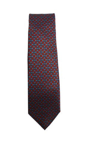 Gucci Men's Red and Blue Twill Patterned Necktie 408867 at_Queen_Bee_of_Beverly_Hills