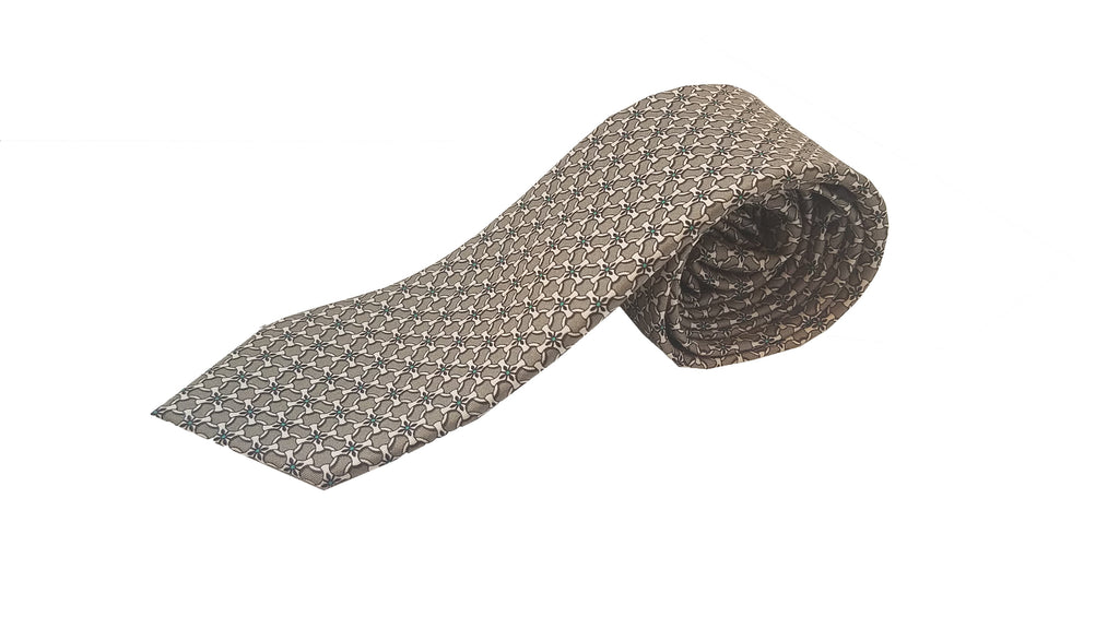Gucci Men's Tie Beige Green Luxury Twill Necktie 408867 at_Queen_Bee_of_Beverly_Hills
