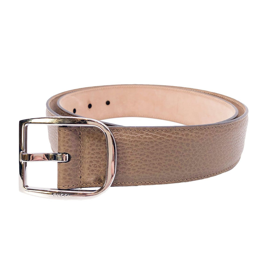 Gucci Mens Acero Brown Dollar Calf Pebbled Leather Silver Hardware Belt 449716 Size 95/38 at_Queen_Bee_of_Beverly_Hills