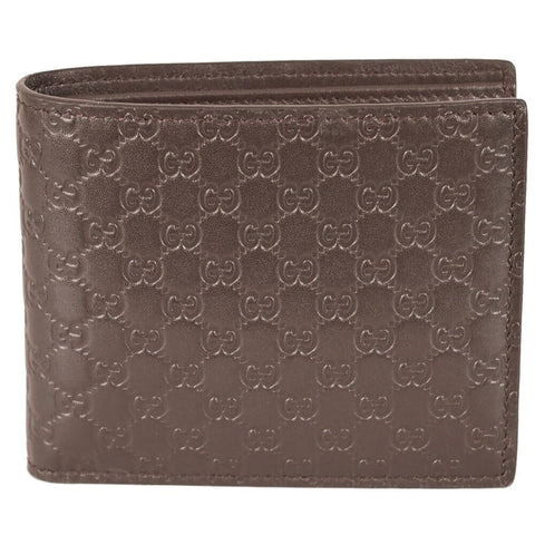 Gucci Mens Acero Brown GG Microguccissima Embossed Leather Bifold Wallet 260987 at_Queen_Bee_of_Beverly_Hills