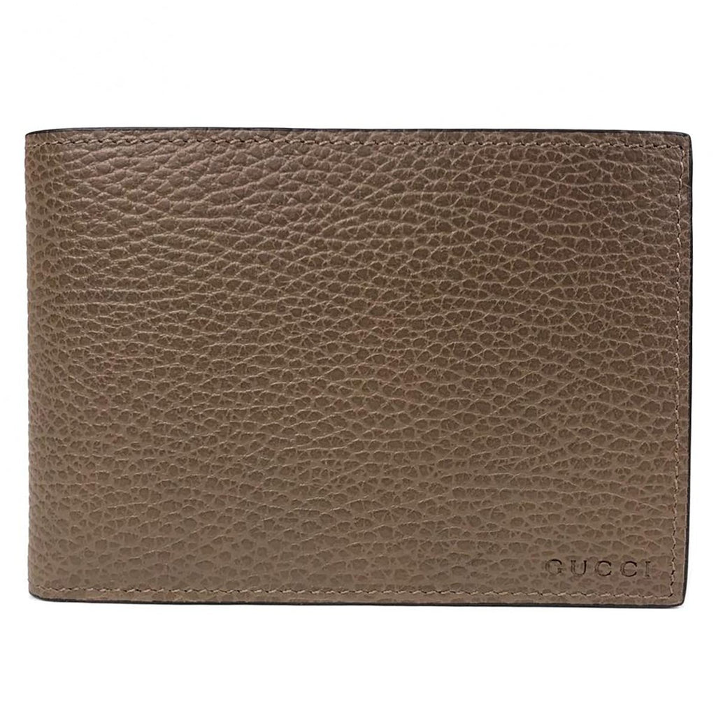 Gucci Mens Dollar Calf Acero Brown Pebbled Leather Engraved Logo Bifold Wallet 292534 at_Queen_Bee_of_Beverly_Hills